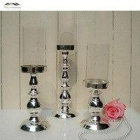 3 шт./лот новые металлические серебряной отделкой подсвечники со стеклом стоять столб подсвечник для свадьбы украшения portavelas канделябры