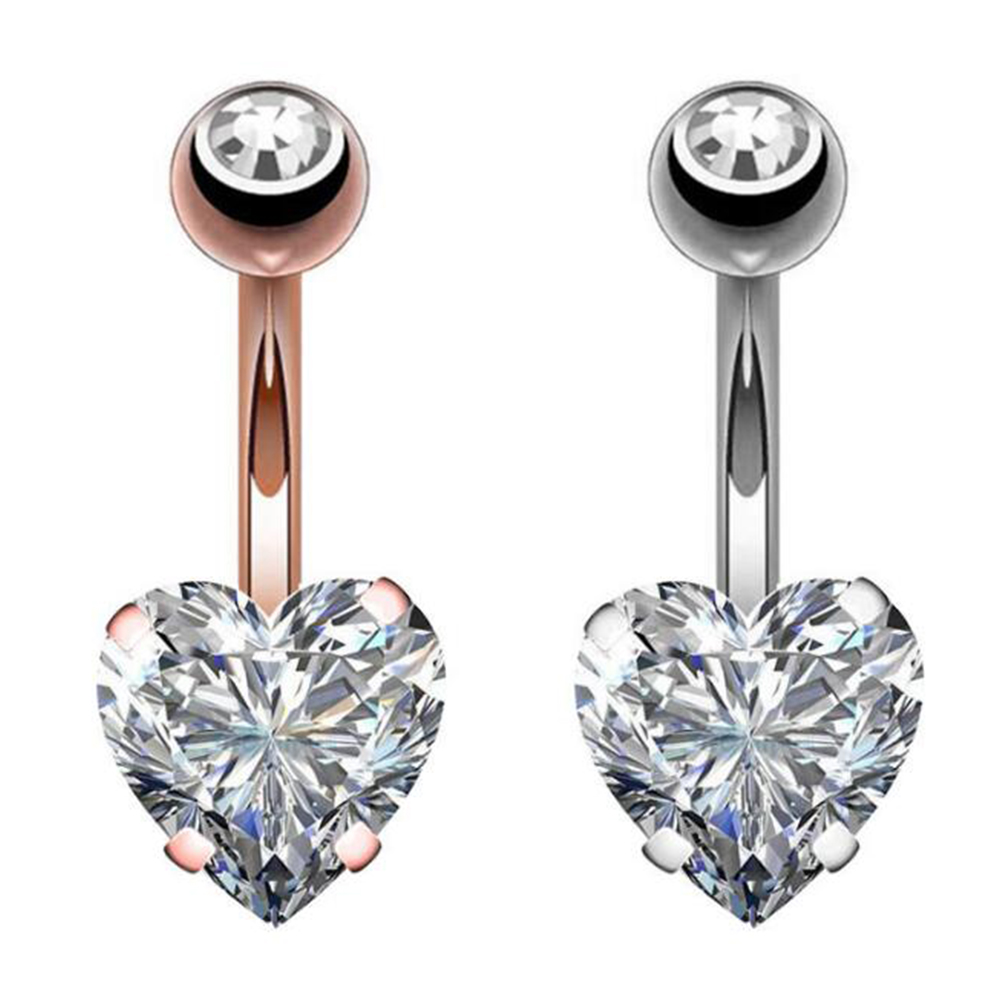 Navel Earring Belly Piercing Steel Belly Button Piercing Heart Style Navel Piercing Sexy Rings Crystal Body Jewelry Piercings