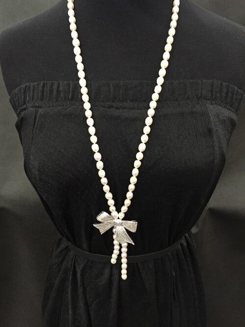 7-8 MM naturel perle chandail chaîne collier Bowknot riz perle collier 80 CM longueur