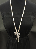 7 8MM natural pearl sweater chain necklace Bowknot rice pearl necklace 80CM length