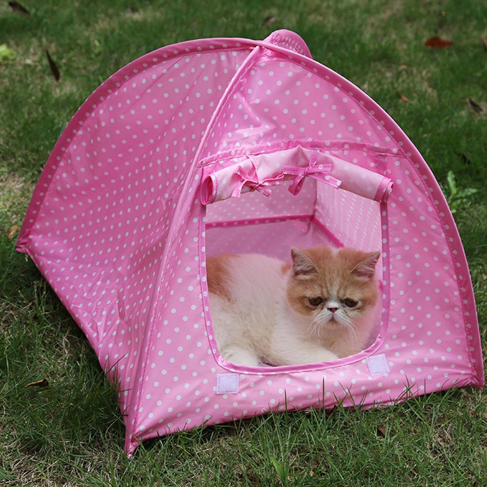 Простой точечный узор анти-москитная складная палатка для домашних собак и котов гнездо - Color: Pink dots