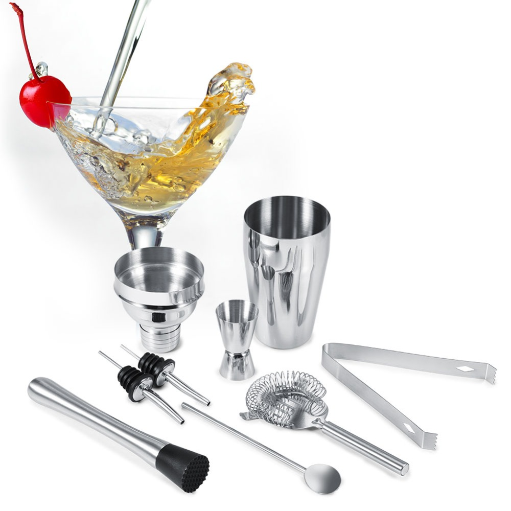 8Pcs 550ML Cocktail Set Bartender Kit Stainless Steel Cocktail Shaker Mixer Drink Wine Tools Kit Bar Accessories Bartender Tools