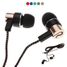 1.1m Wired Earphones Jack Standard Noise Isolating Reflective Cloth Line 3.5mm Stereo In-ear Earphone Earbuds without Mic