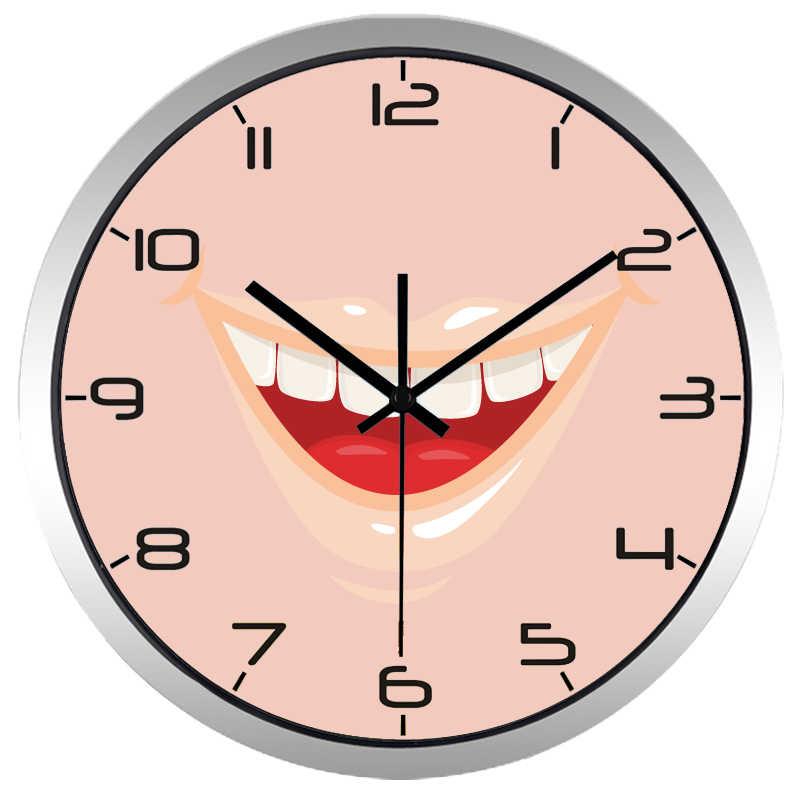 Hot Jual Pria dan Wanita Modern Gaya Gigi klinik Gigi Senyum Mulut Jam Dinding Kuarsa Menonton