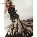 Elegant Black Lace Vestidos Sereia Partido Turco Halter Tulle Prom Formal Vestido de Noite Vestido para o Casamento Das Senhoras Das Mulheres