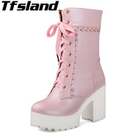 New Women Lolita Pink White Lace Up High Heel Student Walking Shoes Cosplay Platform Chunky Block Mid Calf Short Boots Sneakers
