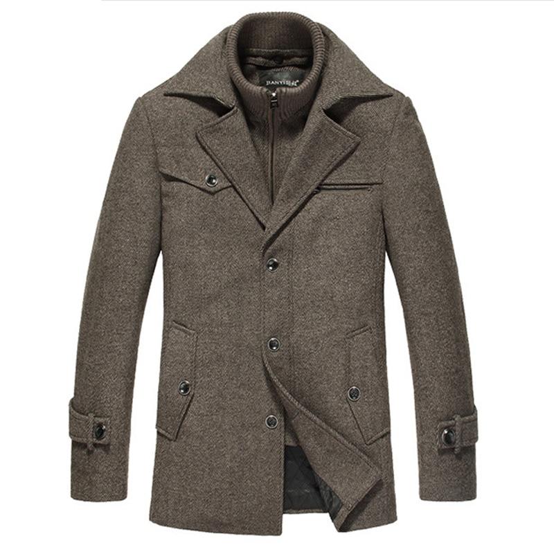 Winter Wool Coat Men Slim Fit Jacket Mens Fashion Outerwear Warm Male Casual Jackets Overcoat Woolen