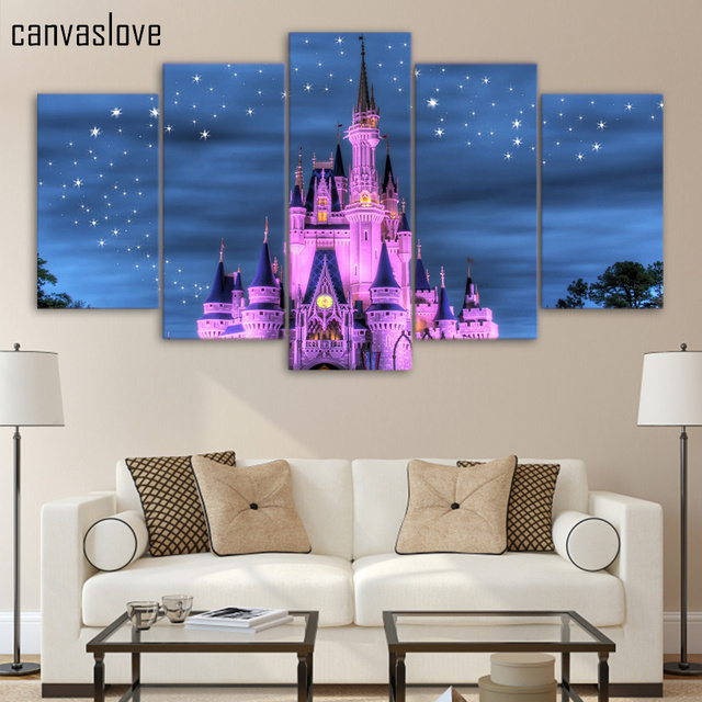 5 Piece Canvas Art HD Print Pink Castle And Starry Sky Poster Paintings For Living  Room Part 93