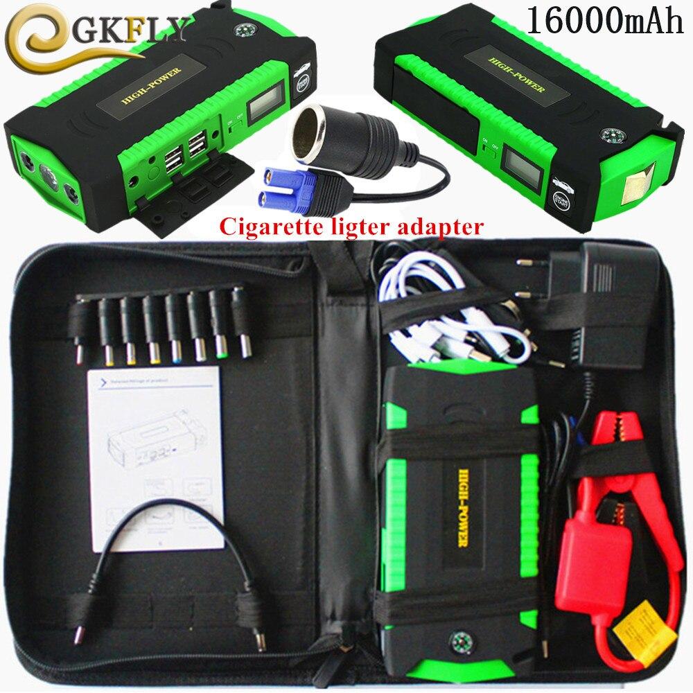 Démarreur de voiture 12 V 16000 mAh Portable dispositif de démarrage essence Diesel chargeur de voiture pour voiture batterie Booster voiture démarreur batterie externe