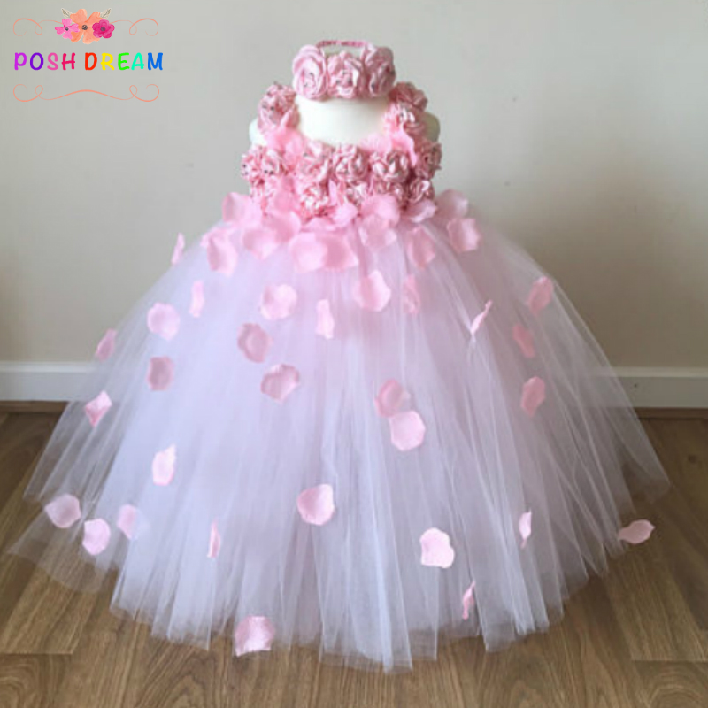 POSH DREAM Beautiful Pink Flower Girl Tutu Dress Embellished with Petals Weddings Christening Special Occasions Kids Girl Dress