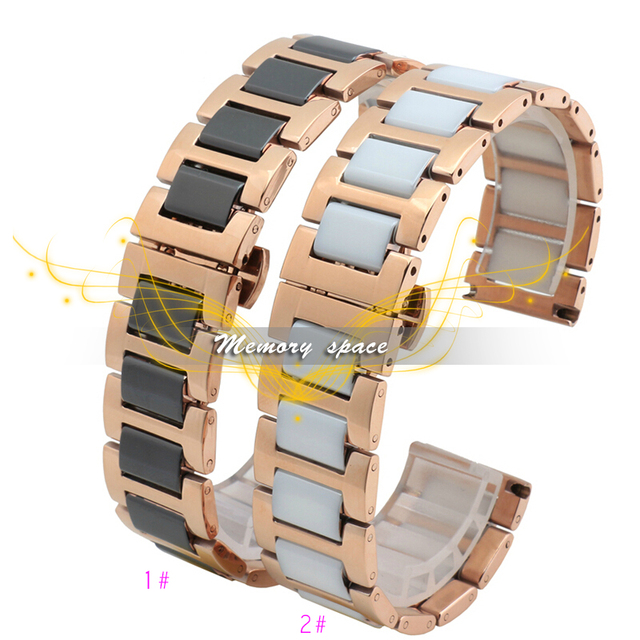 16mm 18mm 20mm ceramic and stainless steel watchband Rose gold white or Rose gold black watch band watch strap Butterfly Buckle