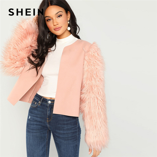 00d93dfcf8805 SHEIN Pink Weekend Casual Open Round Neck Front Contrast Faux Fur Sleeve  Coat 2018 Autumn Streetwear