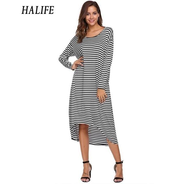Halife Women Vintage Striped Plus Size Dress Casual Batwing Long