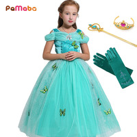 PaMaBa Princess Ariel/Aurora/Belle/Snow White/Cinderella Tutu Dress Butterflies Embellished Kids Charming Summer Party Vestidos