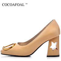 COCOAFOAL Woman High Heels Shoes Plus Size 32 48 Square Toe Sexy Wedding Pumps Pink Apricot