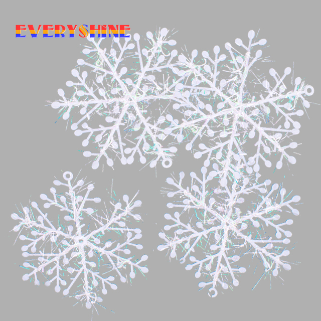 Christmas Ornament 60pcs/lot White Plastic Christmas Snowflake Christmas 6*6cm Tree /Window Christmas Decorations For Home SD17
