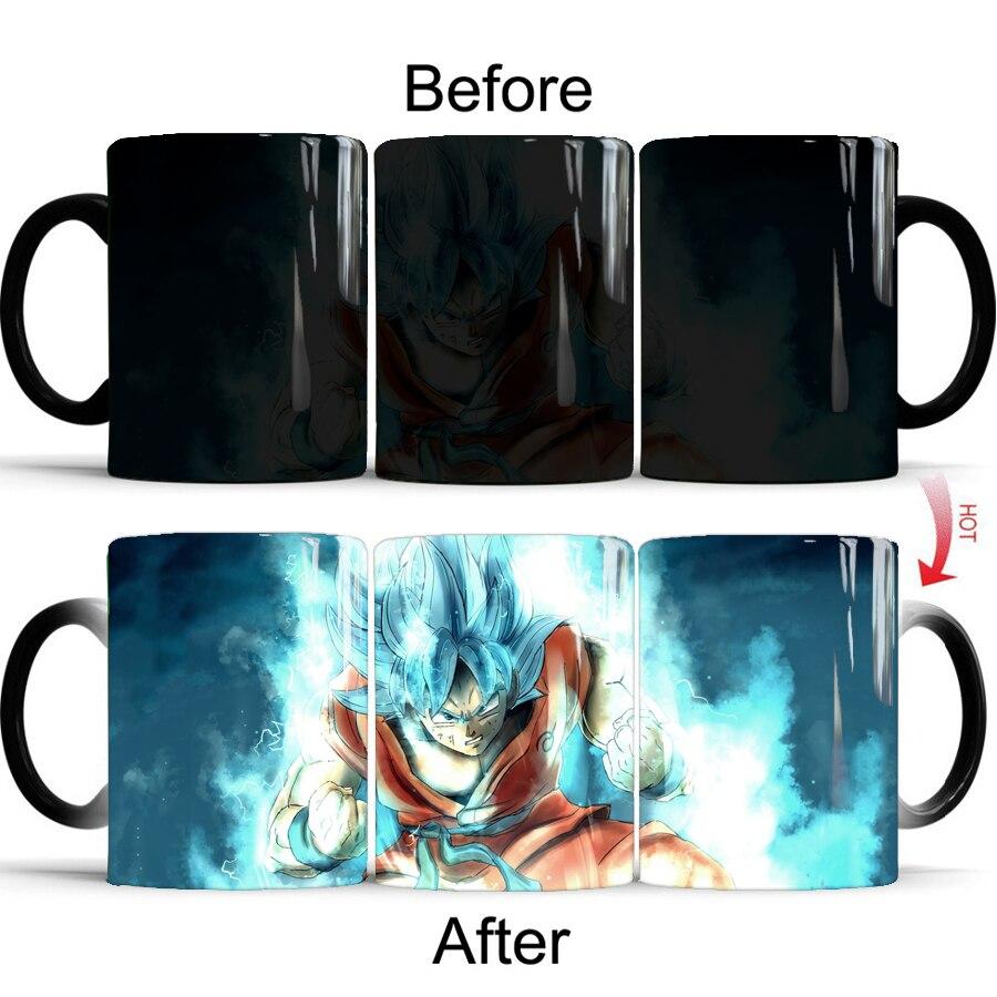 Drop shipping Dragon Ball Z Super Saiyan black red blue hair Goku Vegata Mug Color Changing Mugs coffee tea cup in Mugs from Home Garden