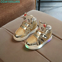 Hot Sale 2017 New Baby Girls LED Light Shoes Toddler Anti Slip Sports Boots Kids Sneakers