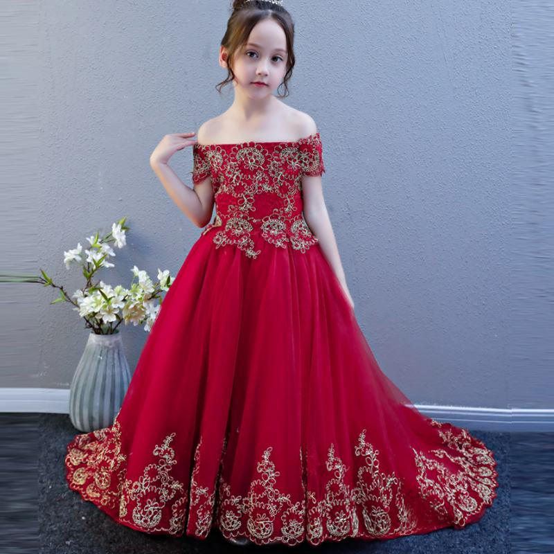 New Children Girls Mesh Embroidery Trailing Princess Dress Kids Dresses For Girls Wedding Party Baby Girl Clothes Vestidos F01New Children Girls Mesh Embroidery Trailing Princess Dress Kids Dresses For Girls Wedding Party Baby Girl Clothes Vestidos F01