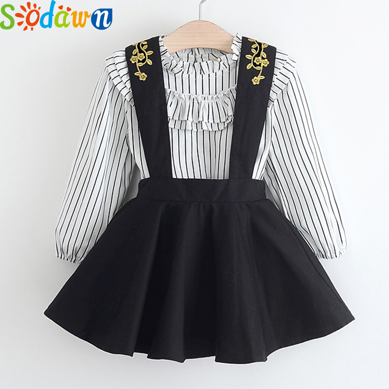 Sodawn Girls Dress Spring Girls Dresses Long Sleeve Striped Embroidery Design Princess Dress Children Clothing laser cut insert bishop sleeve embroidery dress