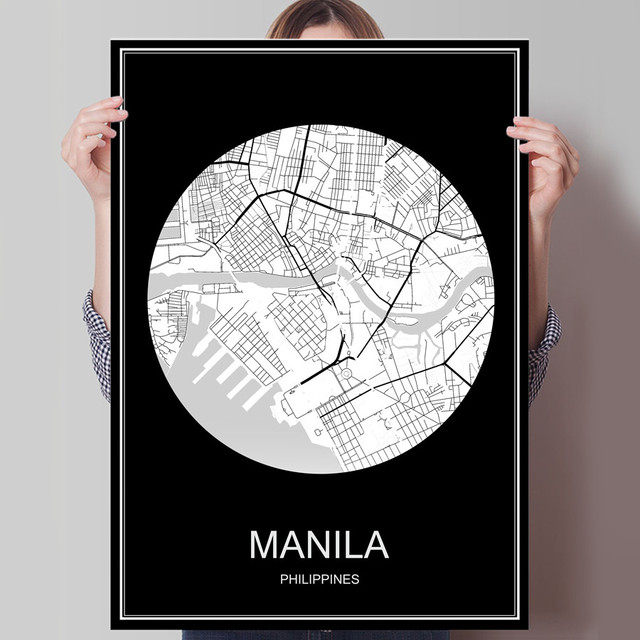Manila philippines abstract world city map print poster print on manila philippines abstract world city map print poster print on paper or canvas wall sticker bar gumiabroncs Images
