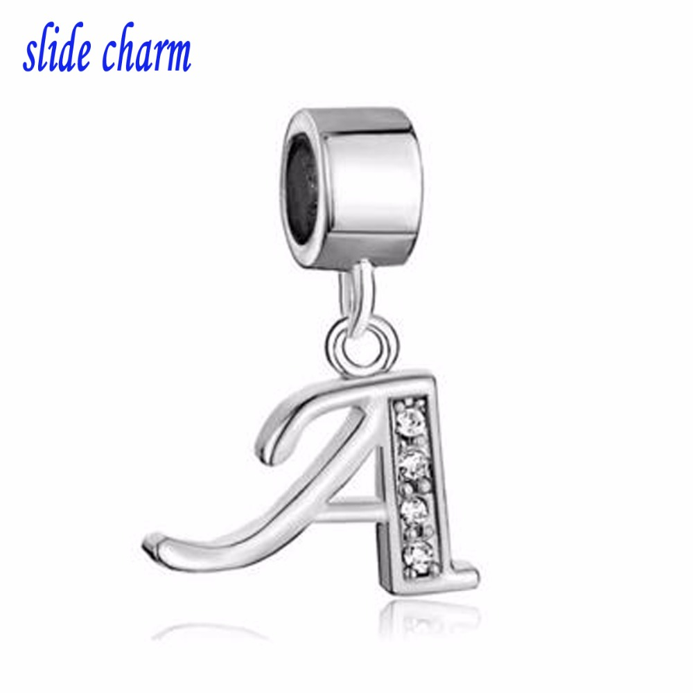 slide charm Free shipping Mothers Day rhinestones the luxury brands A word drape beads fit Pandora charm bracelet Christmas