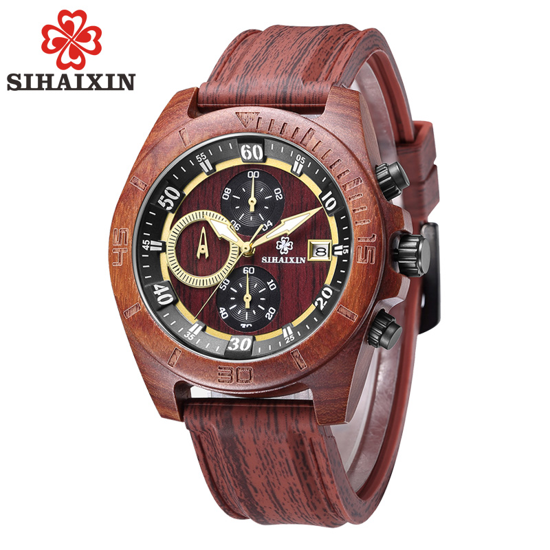 SIHAIXIN Handmade Luxury Brand Wood Watch Sport with Auto Date Stop Watch Luminous Hands Analog Quartz Red Silicone watches men sihaixin wood watches men business luxury stop watch with stainless steel case wooden chronograph military quartz red wristwatch