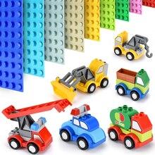Large Particles Car Building Blocks Accessories Compatible Big Size Bricks Car Fire Truck Toys for Children цены