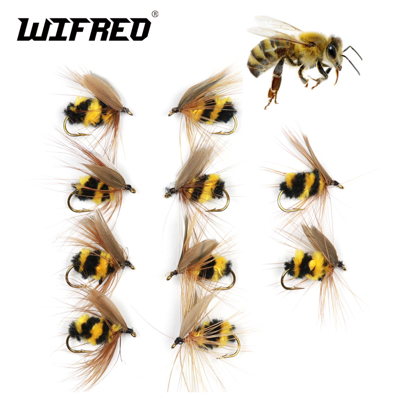 Wifreo 10pcs #10 Artificial Insect Bait Bumble Bee Fly Trout Fishing Lures wifreo 10pcs 6 fly fishing insect black orange egg sucking leech wooly streamer fly trout fly fishing baits marabou flashabou