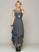 Bohemian Boho Long Lace Maxi Dress Brand Grey Beige Rose Pink Black Irregular Asymmetrical Bridesmaid Lace