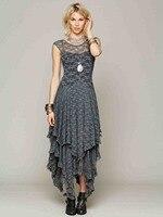 Bohemian boho lange kant maxi dress merk grijs beige rose roze zwart onregelmatige asymmetrische bruidsmeisje kant jurken gewaad vestidos