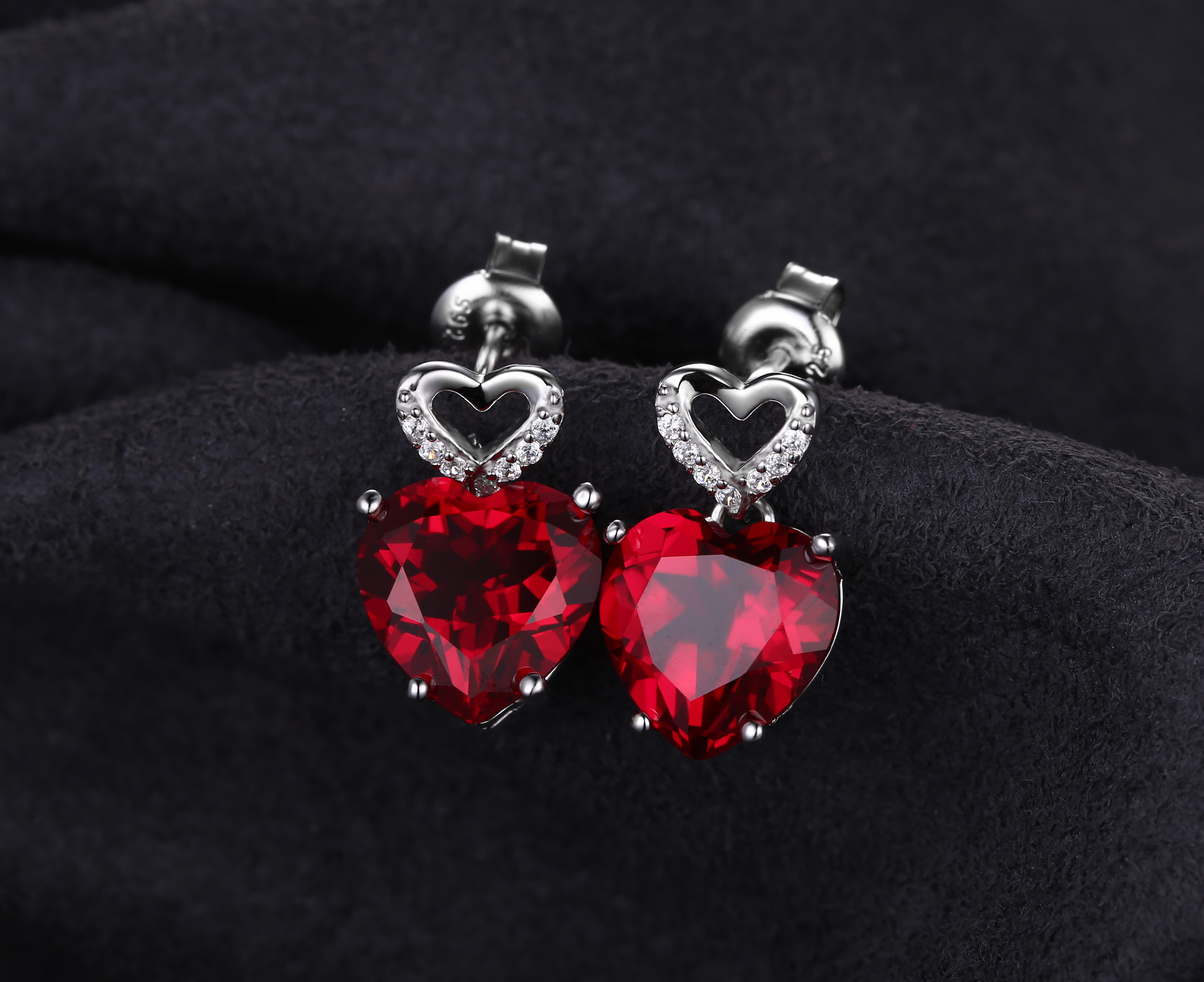 JewelryPalace Love Heart 8 1ct Created Red Ruby Drop Dangle Earrings