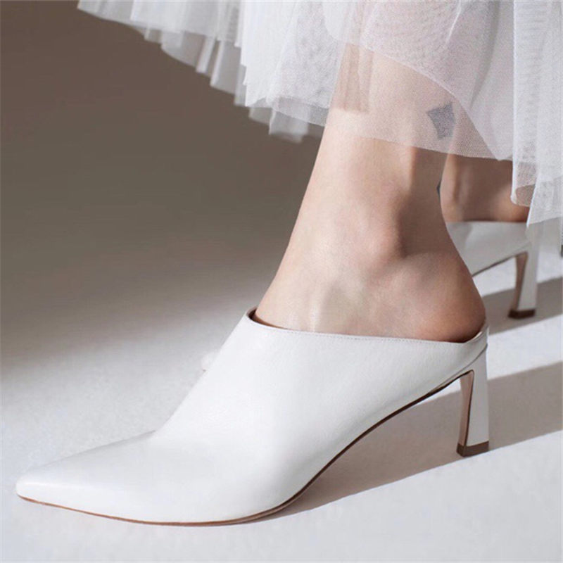 616755b41d0cc White Leather High-Heeled Shoes Women 2019 New Spring Pointy Toe High Heels  Pumps Ladies