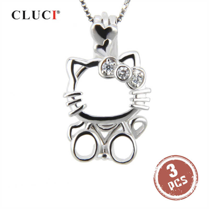 CLUCI 3pcs Silver 925 Lovely Cat Shaped Pearl Locket 925 Sterling Silver Charms Pendant Women Valentine Gift