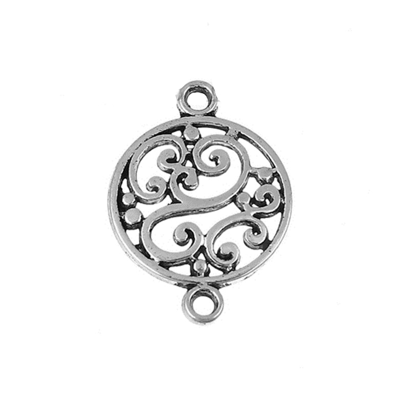 DoreenBeads Zinc Based Alloy Connectors Round Antique Silver Carved Style Jewelry DIY Findings 20mm( 6/8