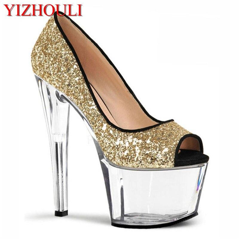 Mode sexy chaussures à talons hauts plate-forme bout transparent pompe d'été strass pompe argent/or chaussures de mariage