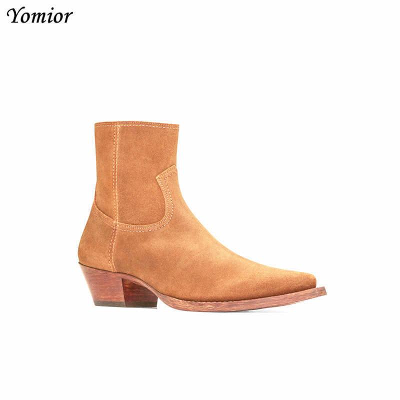 Nouveau classique marque Design en cuir véritable hommes bottines mode automne hiver haute qualité Chelsea bottes robe plate-forme bottes