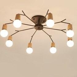 Nordic drewniane nowoczesne oświetlenie sufitowe LED dla domu pokój dzienny sypialnia lampa sufitowa oprawa lampy sufitowe lampora Techo w Wiszące lampki od Lampy i oświetlenie na
