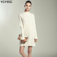 YGYEEG New Casual Knitted Dresses Autumn Winter New Arrival 2017 High Elasticity Loose Dress Women Sweater