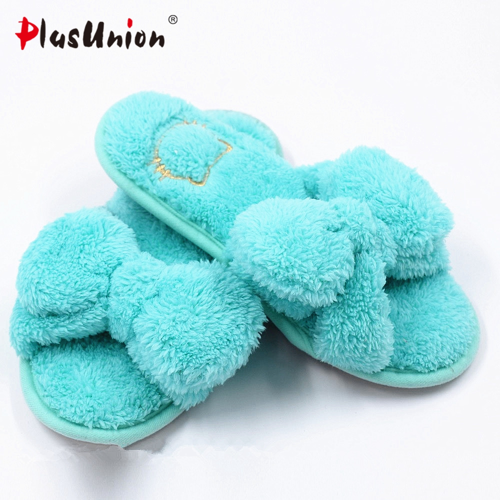 cute butterfly knot indoor winter solid furry soft slippers women red blue faux plush autumn fuzzy house home with fur shoes soft plush big feet pattern winter slippers