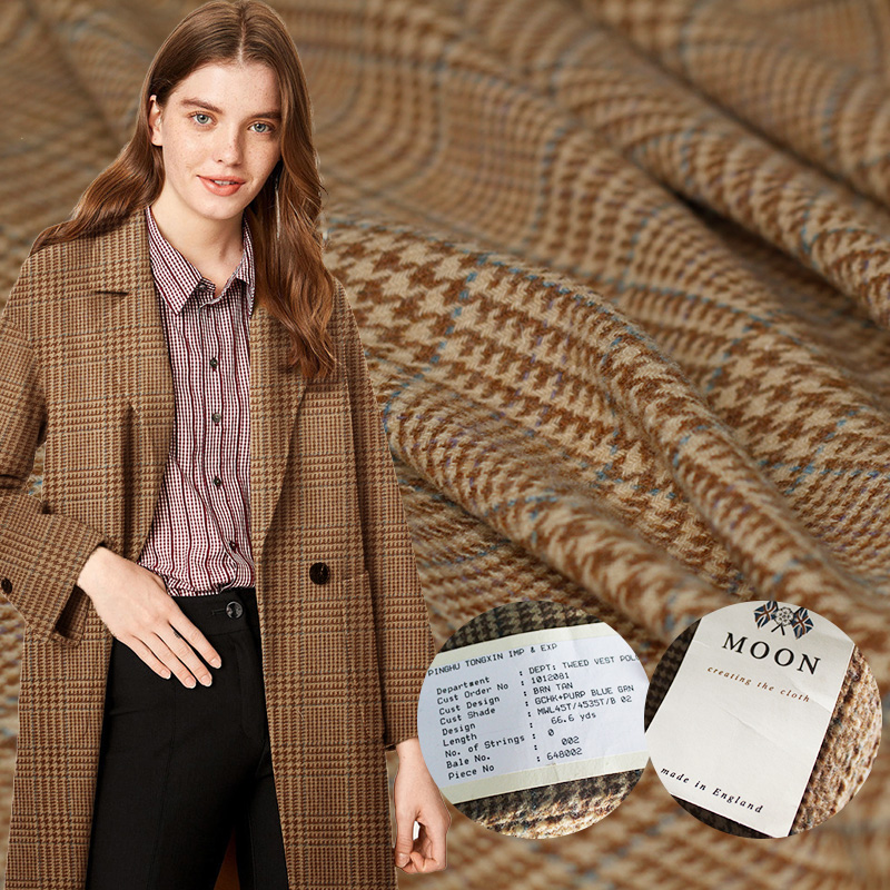 Pearlsilk England tweed soft wool Houndstooth 100%wool garment materials coat dress DIY clothes fabrics Freeshipping