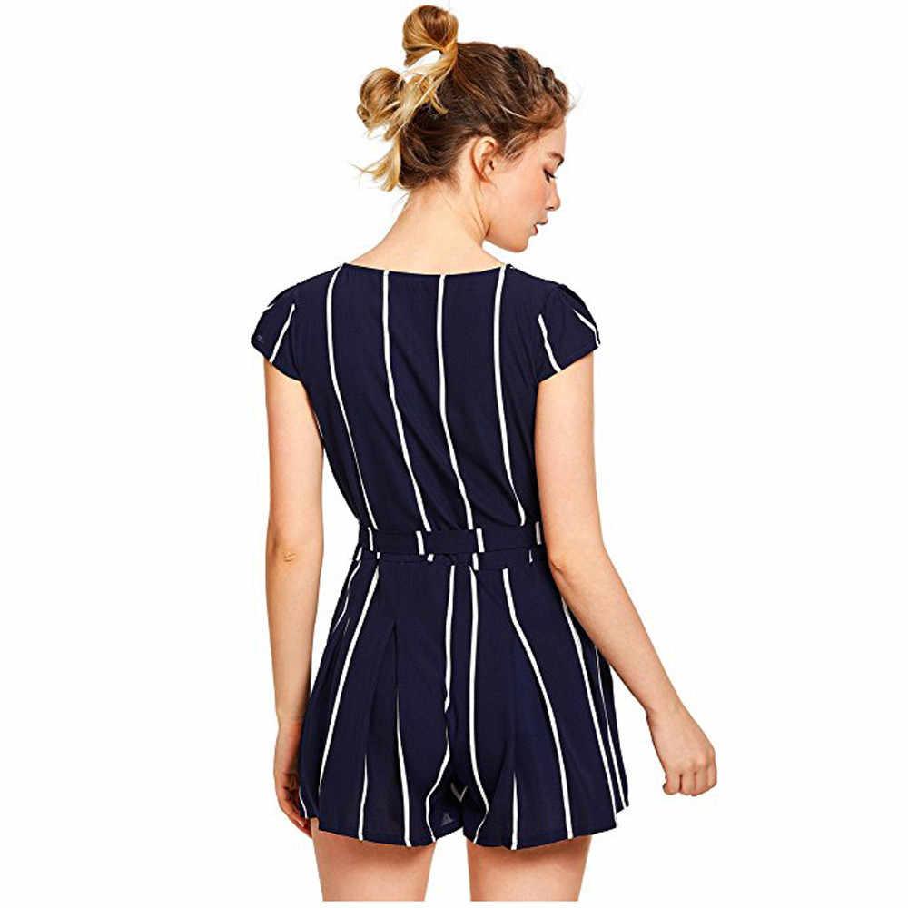 e3f36932a7a ... Free Ostrich Surplice Belt Romper Vertical Striped Women Casual Navy  Elegant Summer Playsuit V Neck Sexy ...