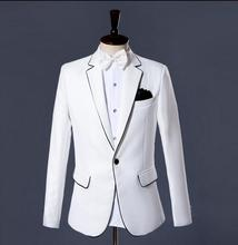 Singer star style dance stage clothing for men suit set with pants 2017 mens wedding suits costume groom formal dress tie white
