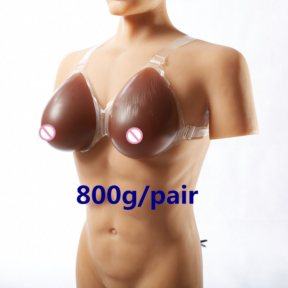 Black Silicone Breast With Shoulder Strap 800g/pair Crossdresser Breast Forms Artificial Breast Fake Boobs Prosthesis 800g pair sexy woman artificial breast artificial boobs crossdresser silicone breast forms c cup size fake breast