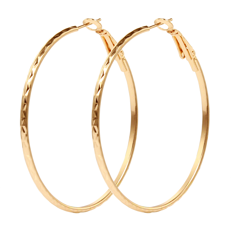 Gold Color Round Endless Hoop Earrings Set Handmade Punk Small Big