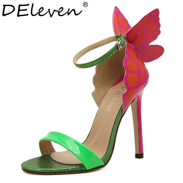 c90b7097910 JC Multi Colored Hand Painting Parrwen Butterfly Wings Wedding Party Women  Open Toe High Heels sandals