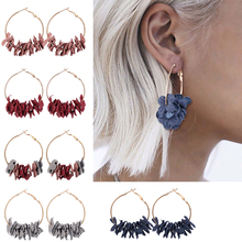 HOCOLE Bohemian Fabric Flower Hoop Earrings Fashion Unique Gold Metal Round Circle Drop For Women Party Jewelry Gift