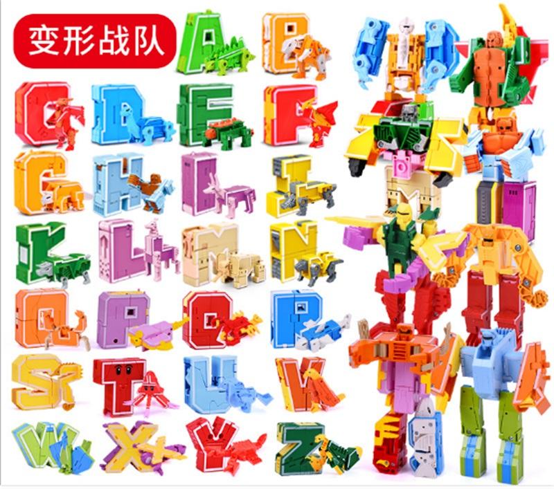Lensple Educational Toys English Letter Deformation Dinosaur Toy Assembly Robot Action Figures Transformer Christmas Gifts