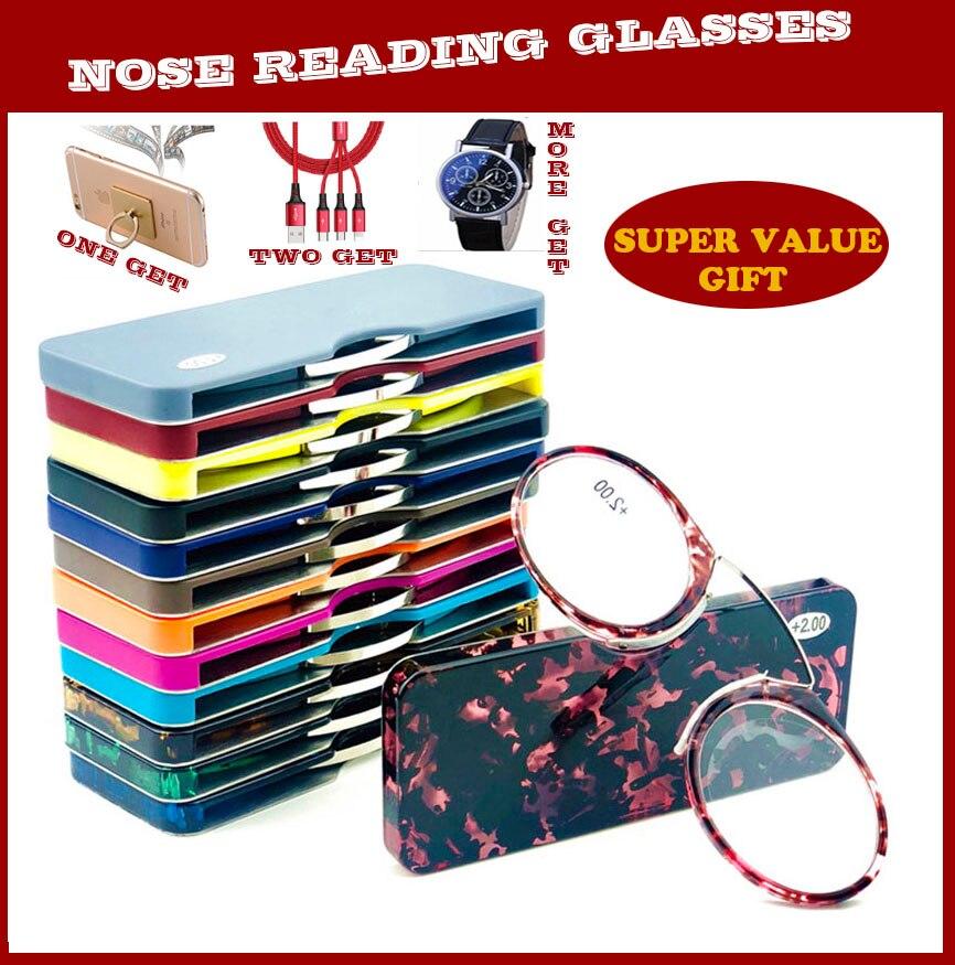 Schluss Verrückte Förderung Rabatt Mini Clip Nase Brücke Lesebrille 1,0 Zu 3,5 Tragbaren Brieftasche Presbyopie Brille Mit Fall QualitäT Zuerst