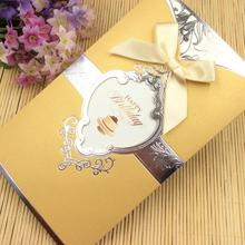 20pcs/pack Birthday Party Invitation with Envelope Blank Inside Pages Luxury Bow Cards Bronzing Pattern